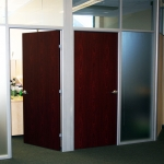 Frosted Glass Fronts with Royal Mahogany Doors